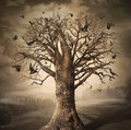 Magic tree with crows dark digital concept art Stock Photos