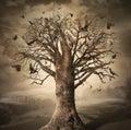 Magic tree with crows dark digital concept art Stock Photos