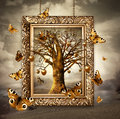 Magic tree with golden apples and butterflies in frame concept Royalty Free Stock Images
