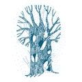 Magic Tree and hares. Royalty Free Stock Photo