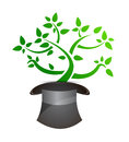 Magic tree and hat Royalty Free Stock Photo