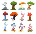Magic tree vector fantasy forest with cartoon treetops and magical plants or fairy flowers illustration forestry