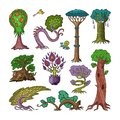 Magic tree vector fantasy forest with cartoon treetops and magical plants or fairy flowers illustration forestry set of