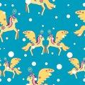 Magic unicorn with colorful mane winter seamless poster, postcard,fabric,wallpaper.Miracle colorful unicorn seamless
