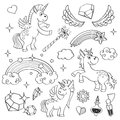 Magic unicorn rainbow, fairy wings, stars and crystals in outline hand drawn style vector set