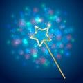 Magic Wand On Blue Background