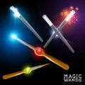Magic wand collection wizard and magician wands set vector illustration Royalty Free Stock Photos