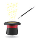Magic wand and cylinder hat vector illustration on white background Stock Photos