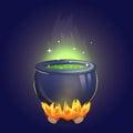 Magic witch alchemy cauldron on fire Royalty Free Stock Photo