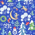 Magic Xmas blue wallpaper with seamless paper cutting pattern with snowy firs and trees, little angels and snowman, crescent, Chri