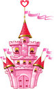 Magical fairytale pink castle with flags Stock Photography