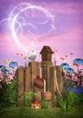 Magical garden scene