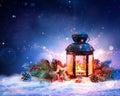 Magical Lantern On Snow