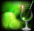 Magical leprechaun drink gold coins with magic clover and st patricks day background Royalty Free Stock Image