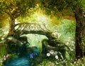 Magical fairy tale forest with an enchanting bridge over a brook Royalty Free Stock Photo