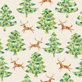 Magical mosaic christmas trees forest reindeer seamless pattern repetitive background grunge texture objects isolated group Royalty Free Stock Photo