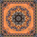 Magical round abstract floral pattern and beautiful ornamental frame on orange background.