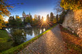 Magical sunset over castle bojnice in slovakia Royalty Free Stock Photos