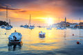Magical sunset with Rovinj harbor,Istria region,Croatia,Europe