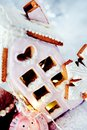 Magical winter christmas picture. Gingerbread house with snow. Royalty Free Stock Photo