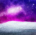 Magical winter landscape. Snow, sky with glowing stars. Royalty Free Stock Photo