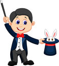 Magician cartoon pulling out a rabbit from his top hat illustration of Royalty Free Stock Image