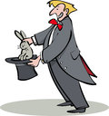 Magician cartoon pulling rabbit out of hat Royalty Free Stock Images
