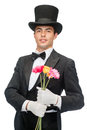 Magician with flowers magic performance circus show concept Royalty Free Stock Photos