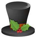 Magician hat with holy leaves christmas vector illustration Royalty Free Stock Photos