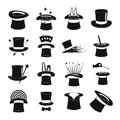 Magician hat sorcery icons set, simple style Royalty Free Stock Photo