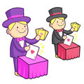 The magician mascot is a card trick playing work and job charac character design series Stock Photography