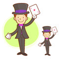 The magician mascot is a card trick playing work and job charac character design series Royalty Free Stock Photo