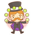The magician mascot to juggle with balls work and job character design series Stock Photography