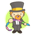 Magician mascot in using a cloth magic work and job character d design series Stock Images