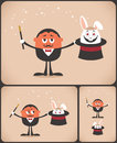Magician pulls rabbit out of hat the illustration is in versions no transparency and gradients used Stock Photography