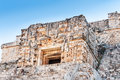 Magician s pyramid mask entrance temple iv of the uxmal mexico where the door is a huge mouth Royalty Free Stock Images