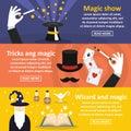 Magician show banner horizontal set, flat style