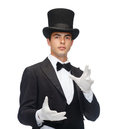 Magician in top hat showing trick magic performance circus show concept Royalty Free Stock Photo