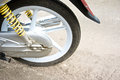 Magnesium alloy wheel of motorcycle and shock absorber old black on the left Stock Photography