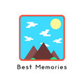 Magnet like photoframe with mountains Royalty Free Stock Photo
