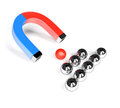 Magnet and metal spheres on white background d rendering image Stock Image