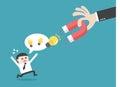 Magnet steal idea flat design business financial marketing banking concept cartoon illustration Stock Image