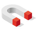 Magnet symbol in isometric perspective. Magnetic force, attraction, magnetization and repulsion. Royalty Free Stock Photo