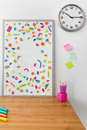 Magnetic board with letters white colorful on it Stock Photo