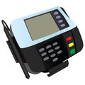 Magnetic card reader at banks and stores with a sticker vector illustration Stock Photography