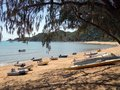 Boats resting on a pretty sandy beach looking through trees on an island Royalty Free Stock Photo
