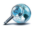 Magnification on usa glass globe with loupe Royalty Free Stock Photography