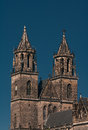 Magnificent Cathedral of Magdeburg at river Elbe, Germany Royalty Free Stock Image