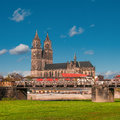 Magnificent Cathedral of Magdeburg at river Elbe, Germany Stock Images