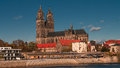 Magnificent Cathedral of Magdeburg at river Elbe, Germany Stock Photos